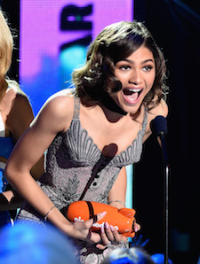 INGLEWOOD, CA - MARCH 12: Actress Zendaya, winner of Favorite Female TV Star ? Kids Show, for 'K.C. Undercover,' onstage at Nickelodeon's 2016 Kids' Choice Awards at The Forum on March 12, 2016 in Inglewood, California. (Photo by Frazer Harrison/KCA2016/Getty Images for Nickelodeon)