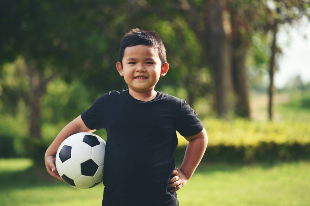 Get your child involved in a sporting activity, which will help him manage his weight.