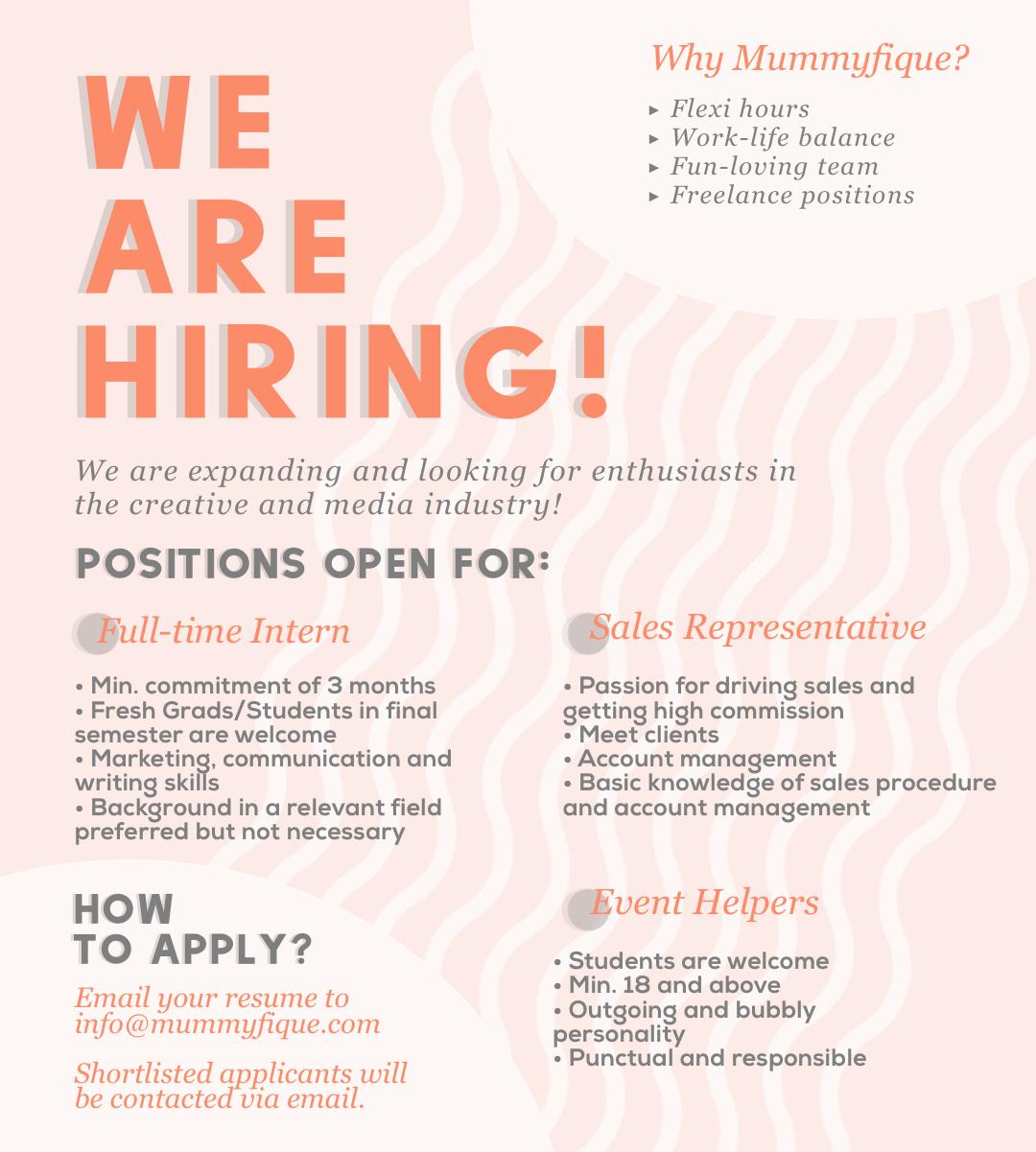 Mummyfique – We are hiring