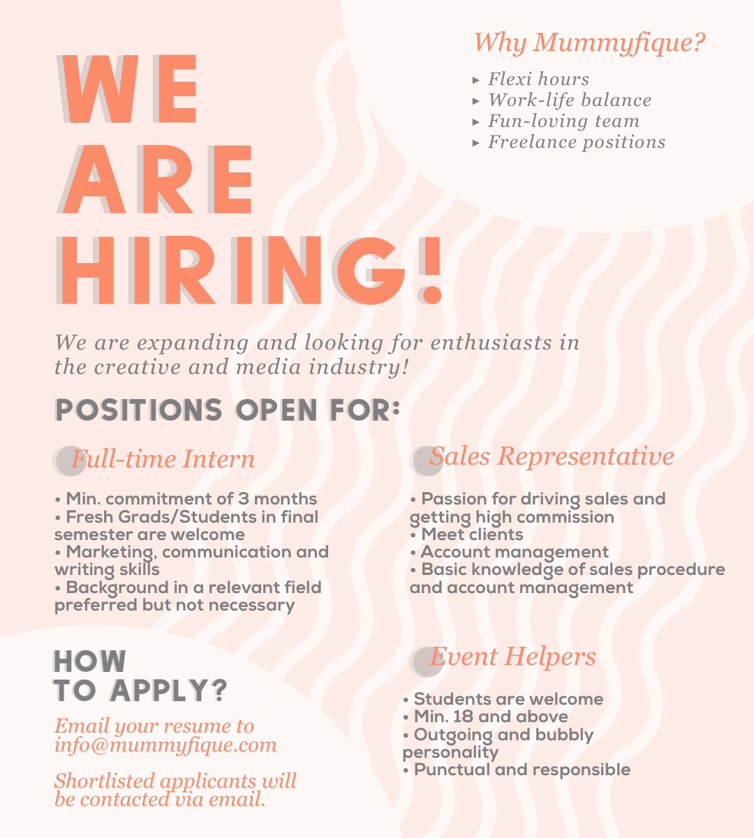 Mummyfique – We are hiring