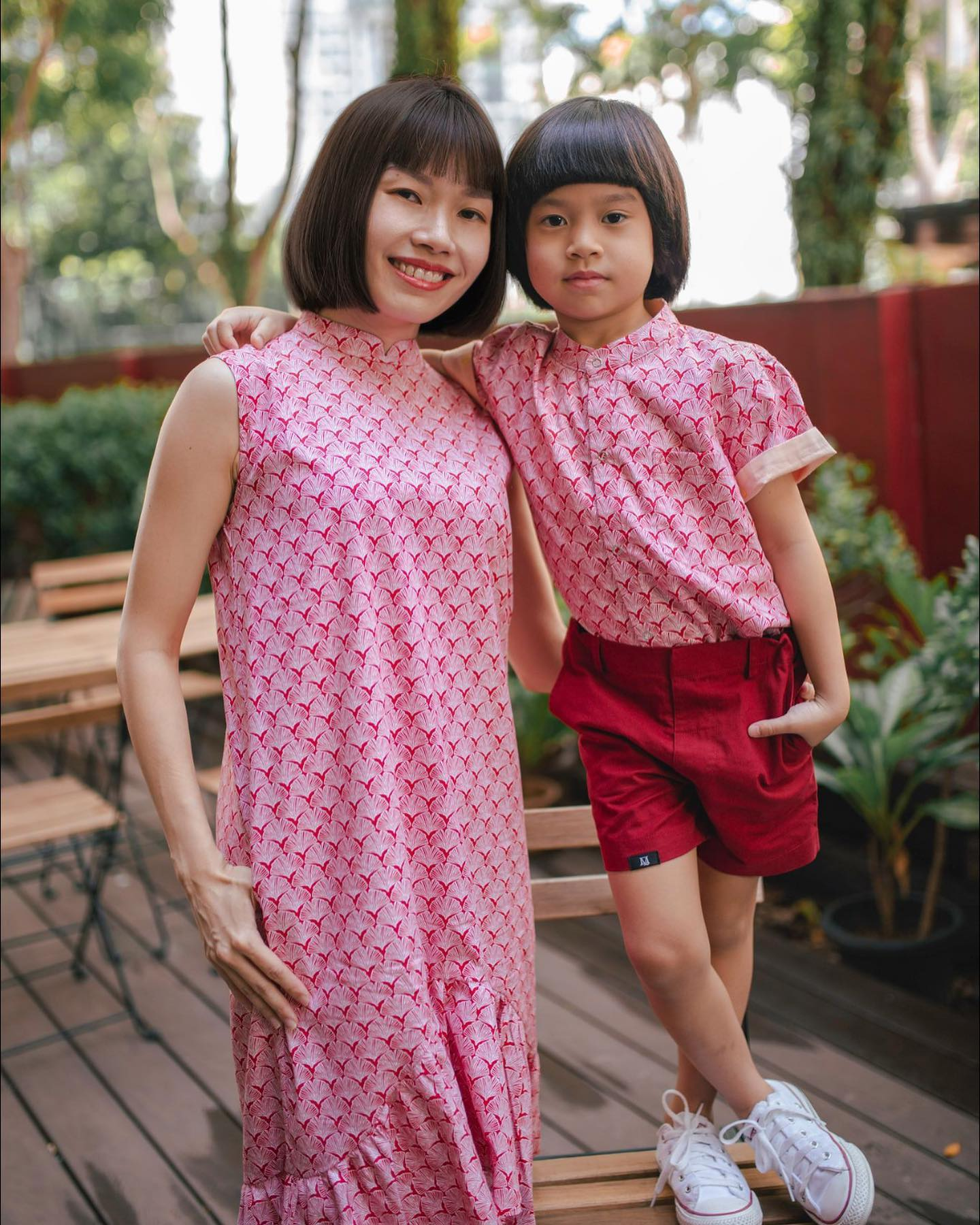 Maison Q mum and son outfit