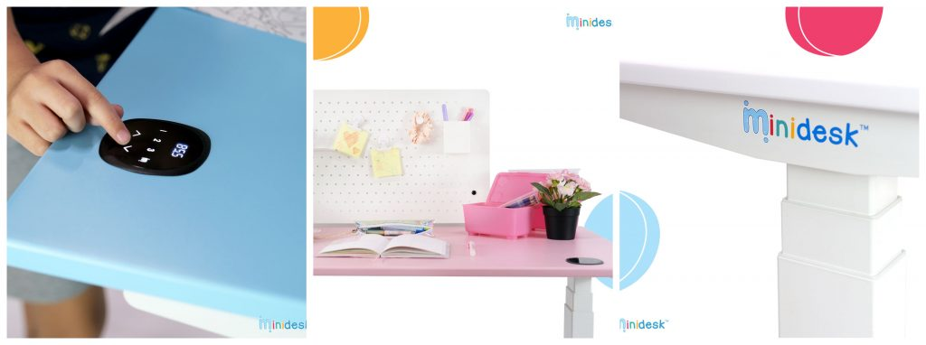 With its child-lock feature, itchy fingers are deterred from playing with the touchscreen. The Minidesk is available in blue, pink, and white.