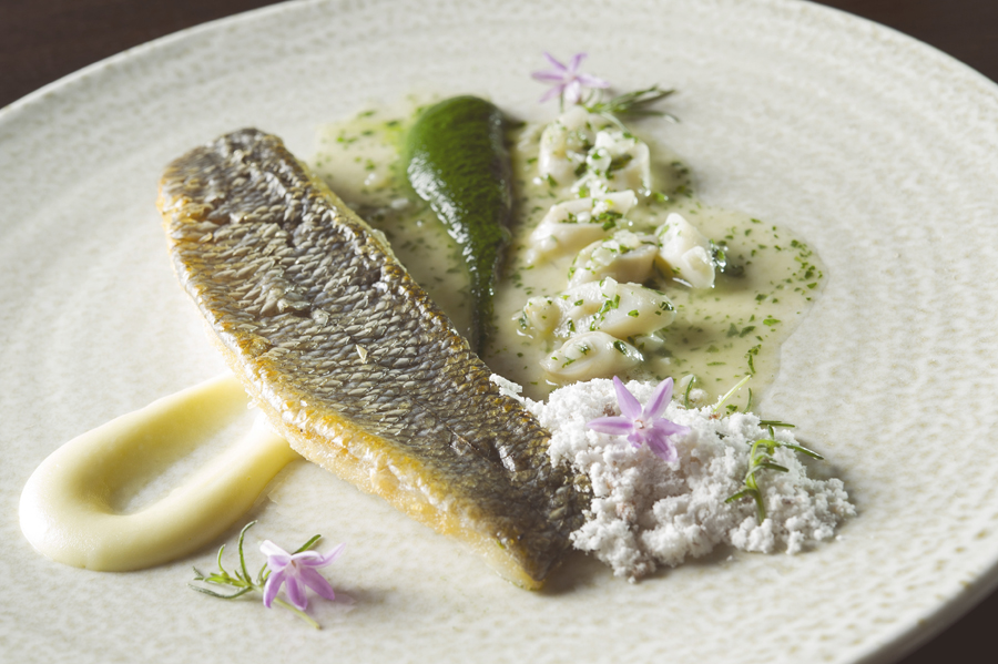 Spago - Crispy Scale Black Sea Bass, Little Neck and Bamboo Clams, Smoked Potato Puree